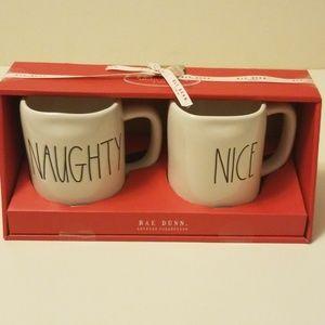 """Brand new Rae Dunn """"NAUGHTY /NICE  coffee mug set"""